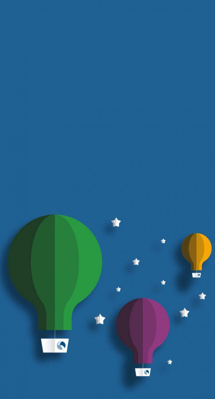 Three balloons and stars